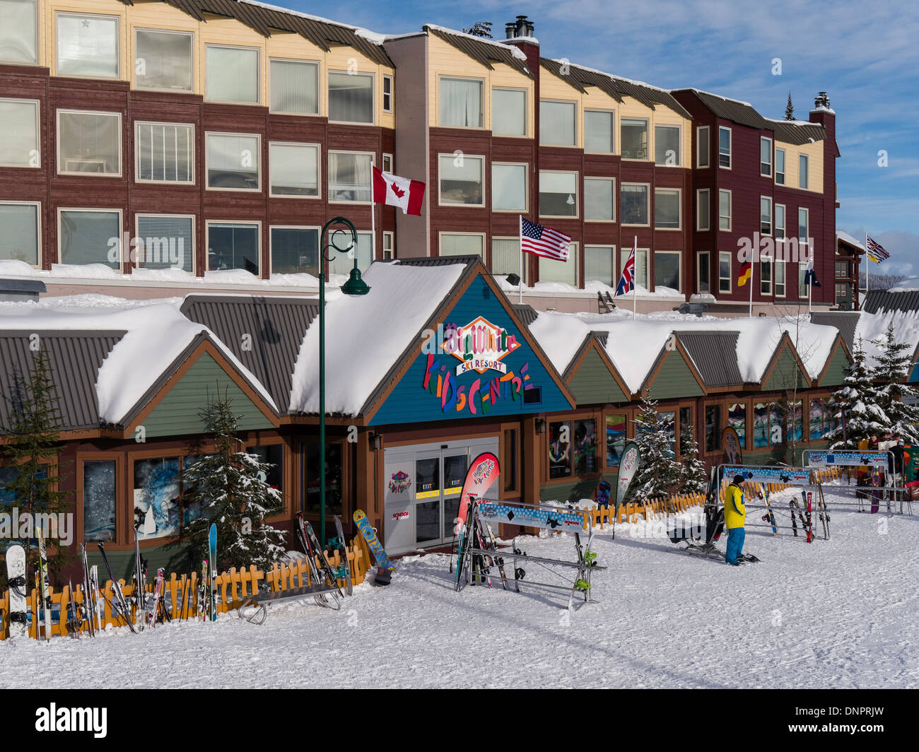 base village, big white ski resort, british columbia, canada stock