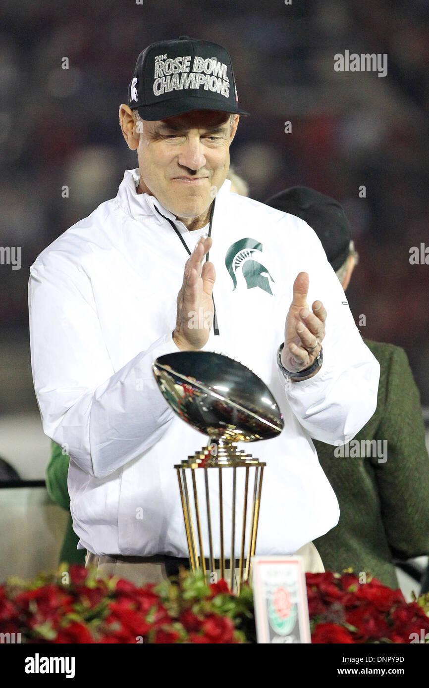 Pasadena, California, USA. 01st Jan, 2014. Michigan State Spartans head coach Mark Dantonio in action during the Stock Photo