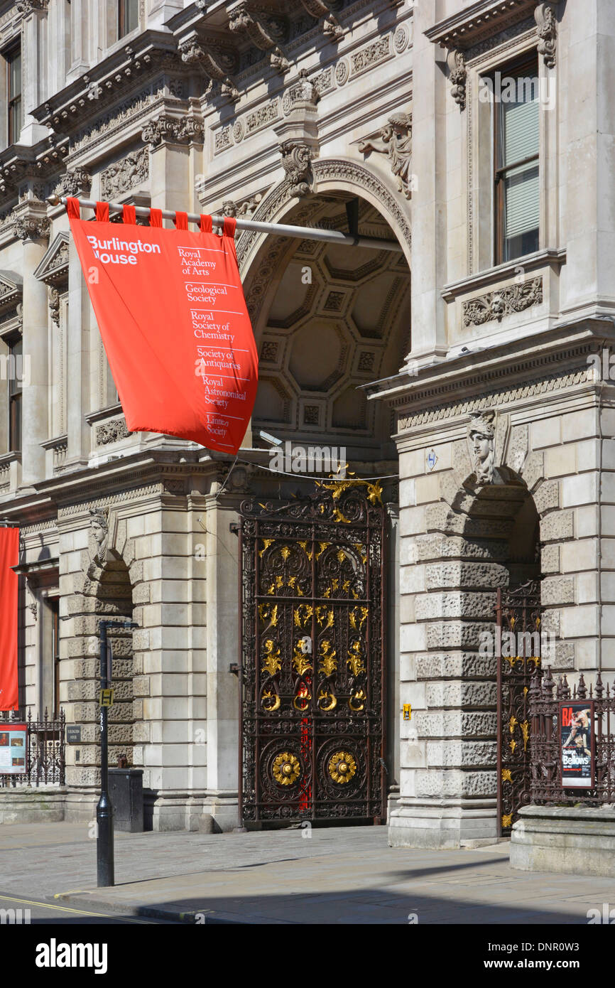 Piccadilly and the entrance to the Royal Academy of Arts at Burlington House London England UK - Stock Image