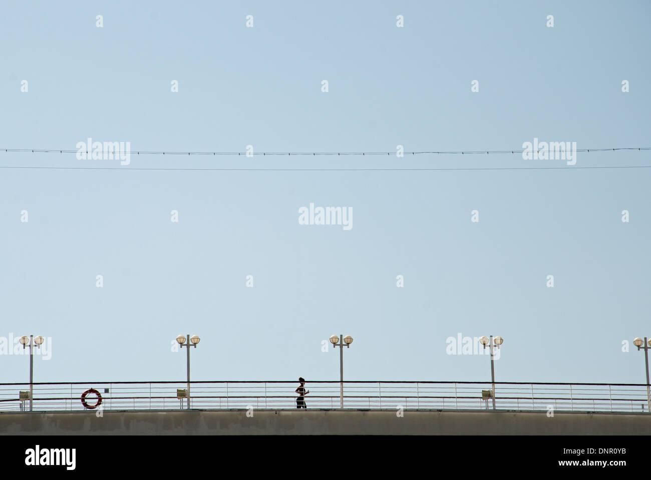 jogging on board Stock Photo