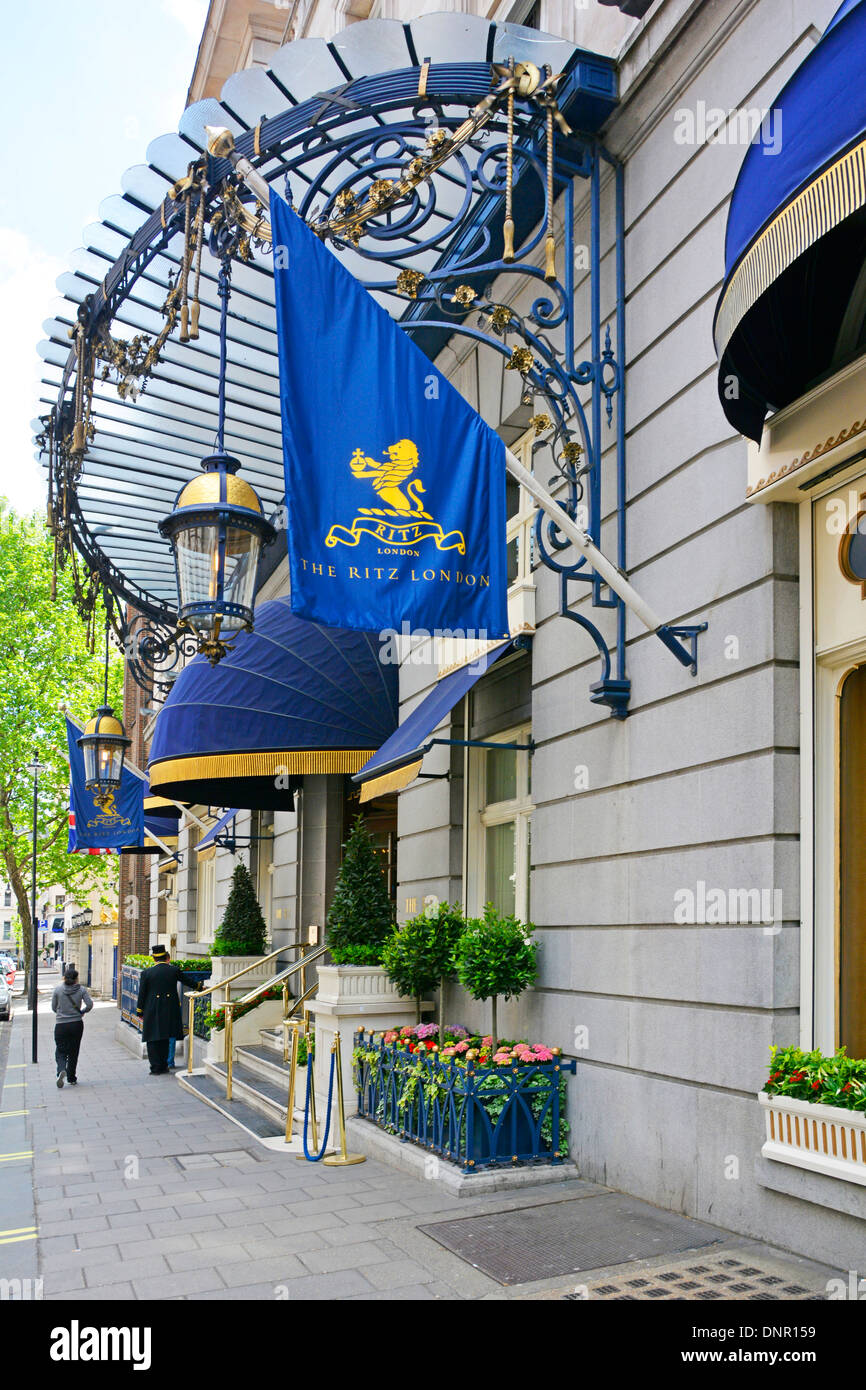 The Arlington Street entrance to the Ritz hotel in Piccadilly West End London England UK - Stock Image