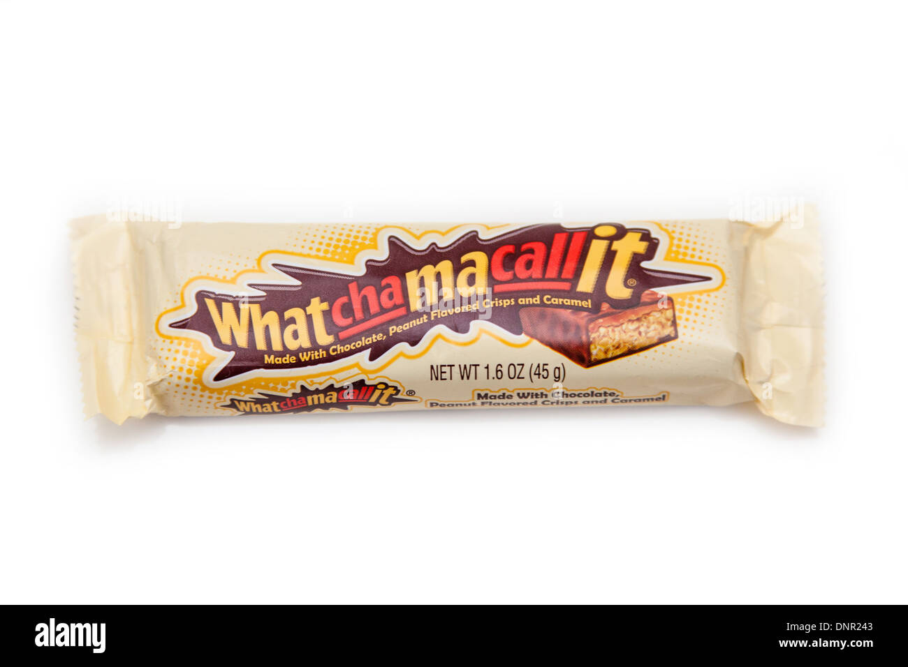 Whatchamacallit candy bar isolated on a white studio background. - Stock Image