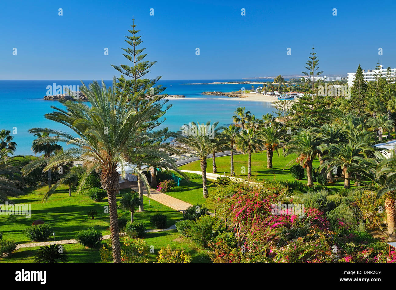View from the Nissi Beach Hotel in Ayia Napa, Cyprus. Stock Photo
