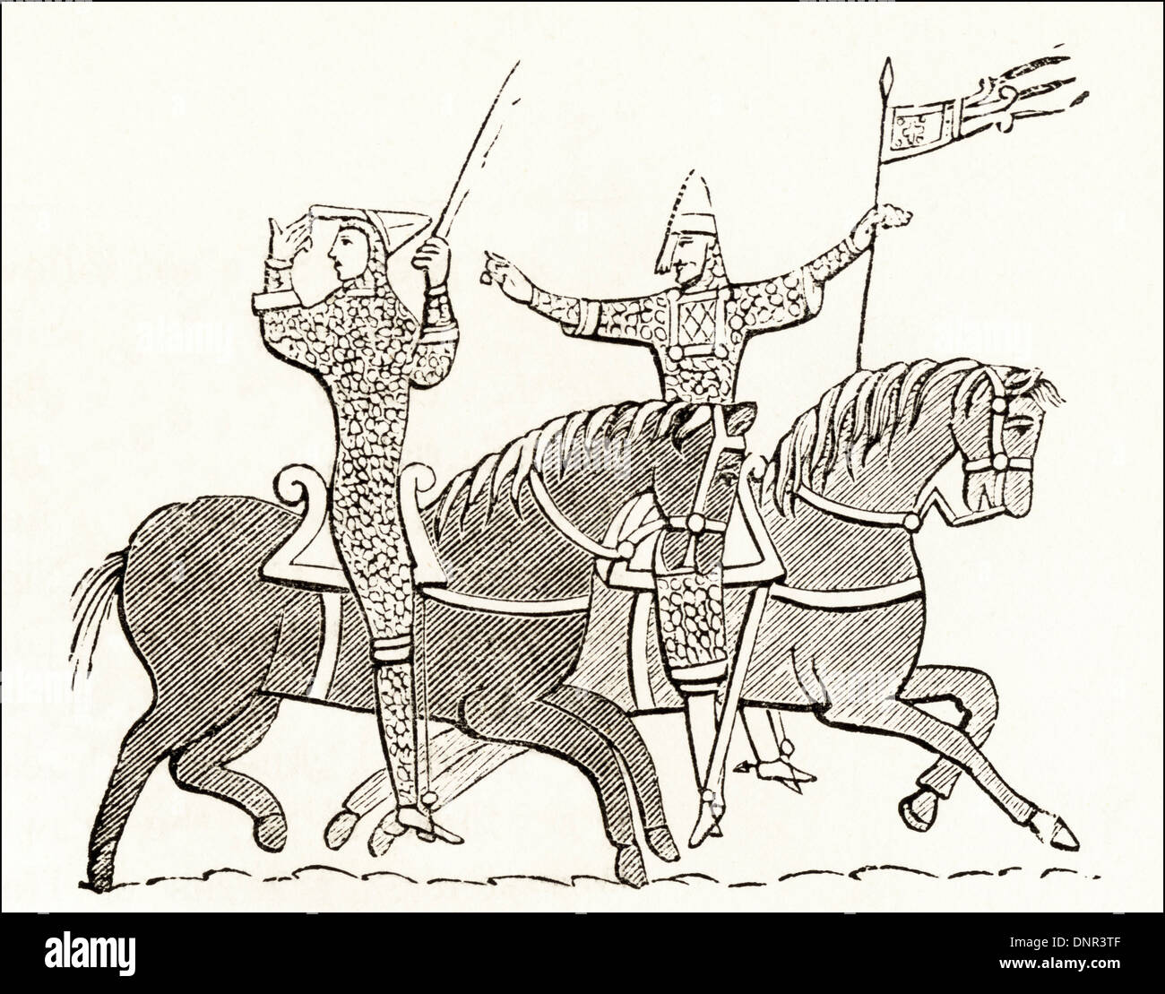 William the Conqueror & Tonstain-le-Blanc with the Consecrated Banner that had been blessed by the Pope at the Battle of Hastings from the Bayeux Tapestry. Victorian woodcut circa 1845. - Stock Image