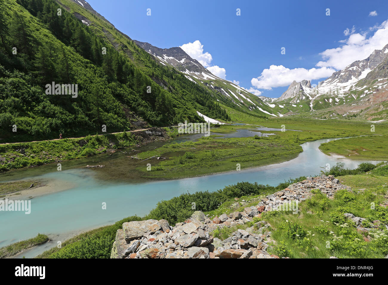 Lake Combal. Val Veny. Valle d'Aosta. - Stock Image