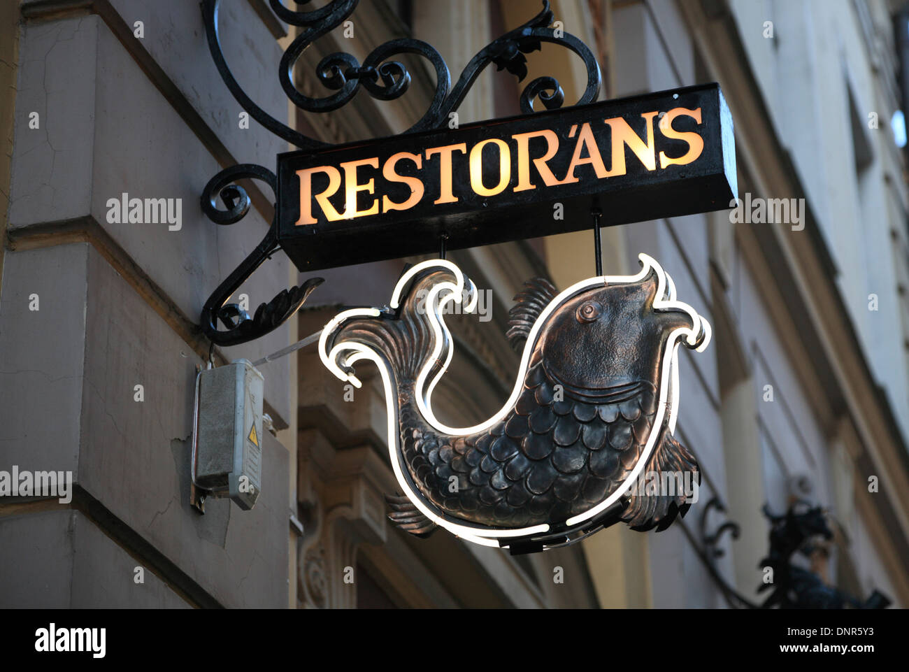Restaurant sign, Riga, Latvia - Stock Image
