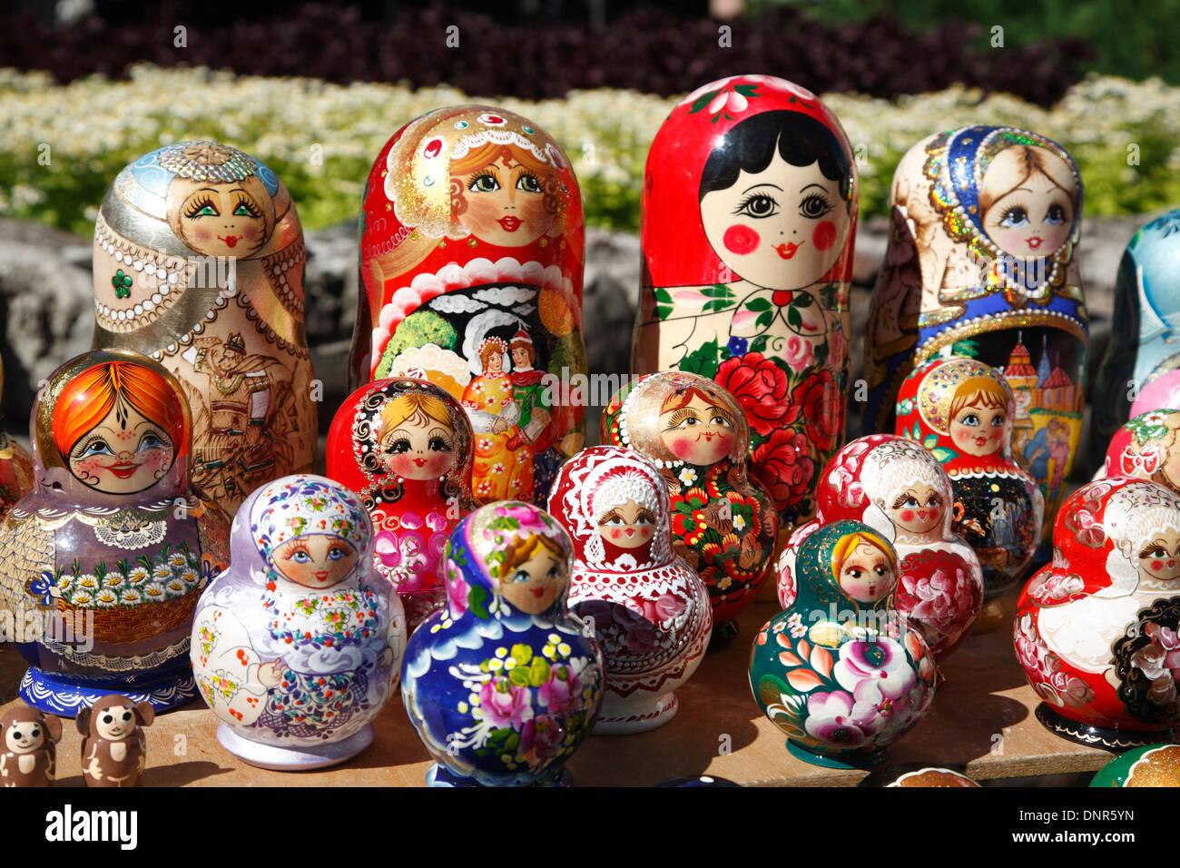 Souvenirs,  Matroschka Puppen, Russian nesting dolls, Riga, Latvia, Europe Stock Photo