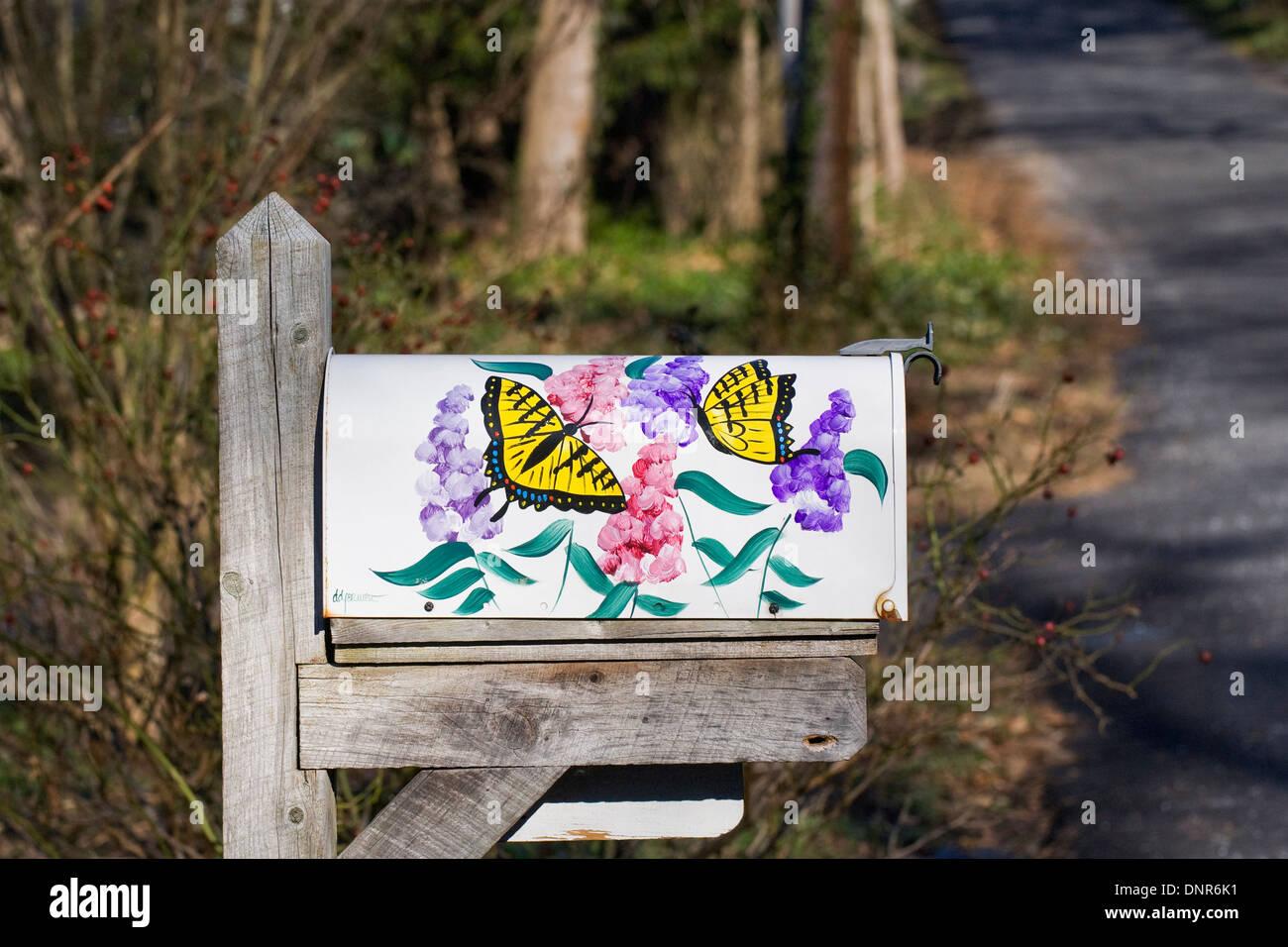 Decorative US mailbox. - Stock Image
