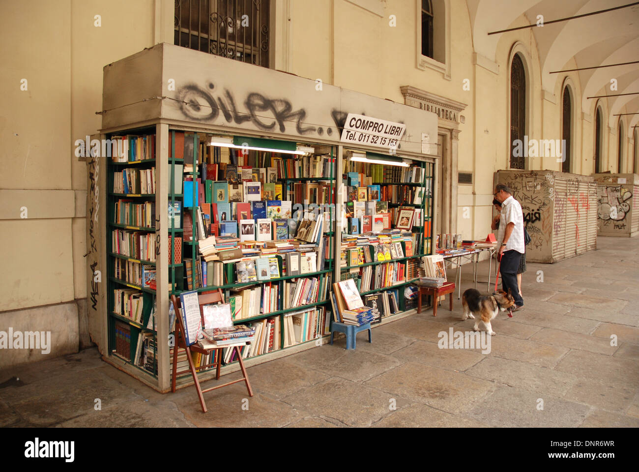 street bookshop, Torino, Turin, Italy Stock Photo