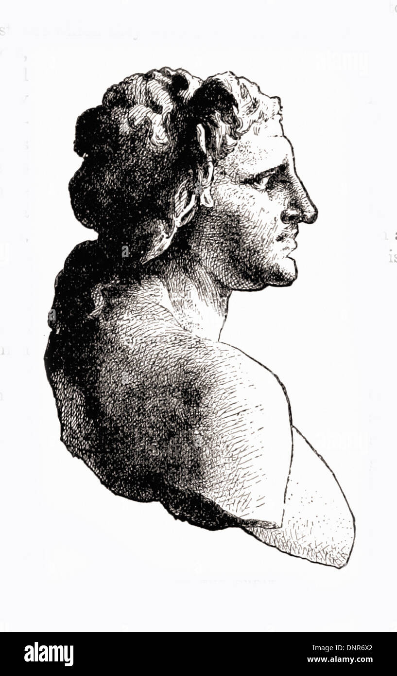 Portrait of ALEXANDER THE GREAT (From the bust in the Louvre) - British engraving XIX th Century - Stock Image