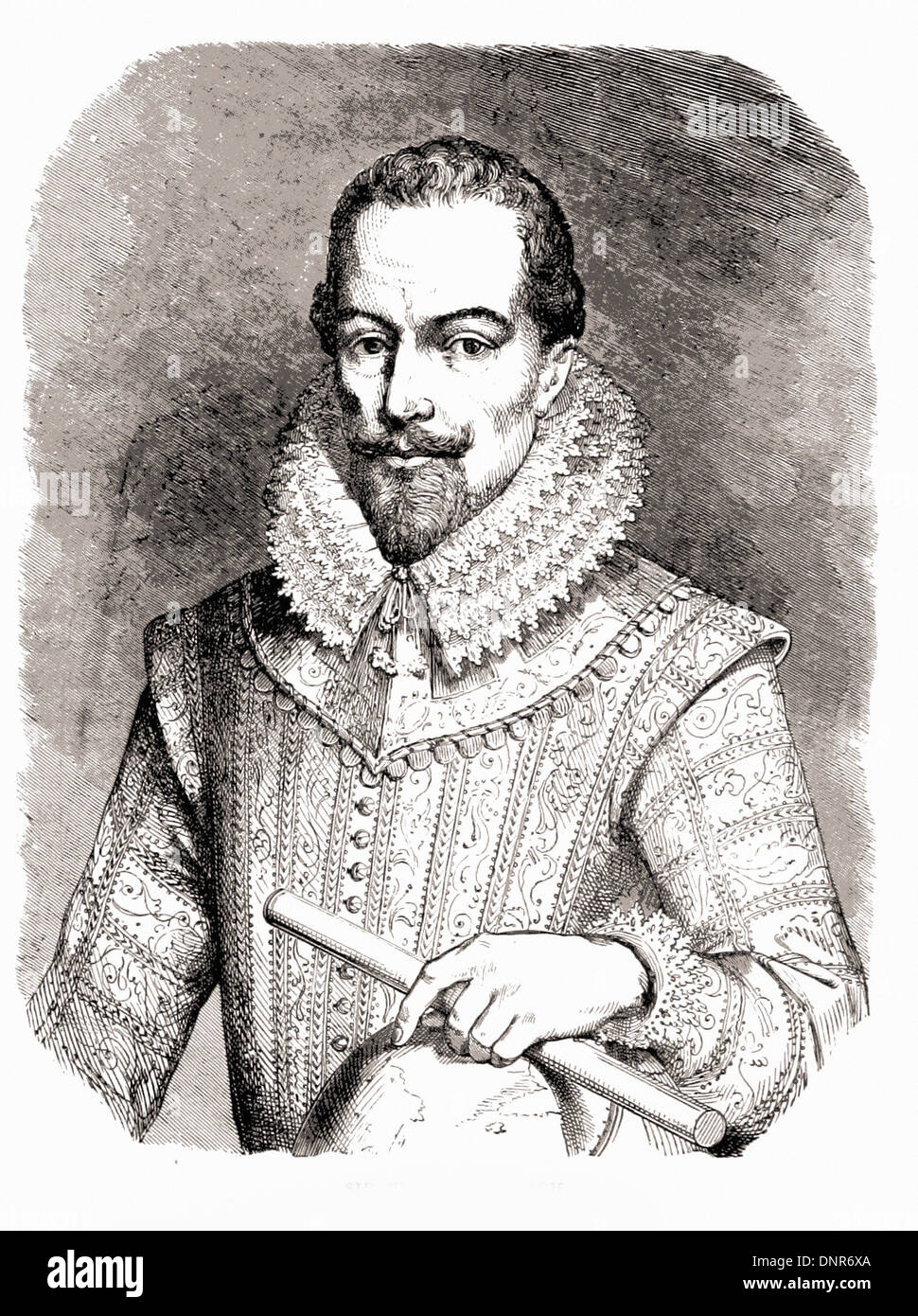 Portrait of Sir Walter RALEIGH - British engraving XIX th Century - Stock Image