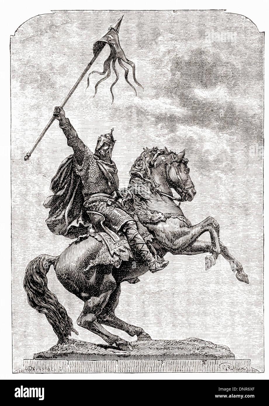 Portrait of William the Conqueror - British engraving XIX th Century - Stock Image