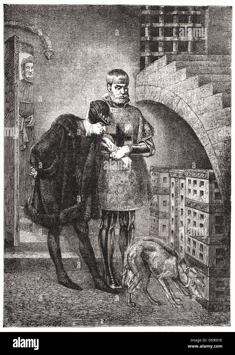 LOUIS XI visiting Cardinal BALUE in the iron cage - British engraving XIX th Century - Stock Image