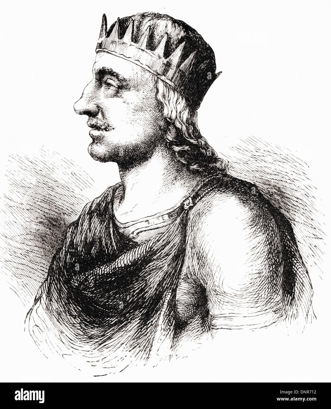 Portrait of EGBERT king of England - British engraving XIX th Century - Stock Image