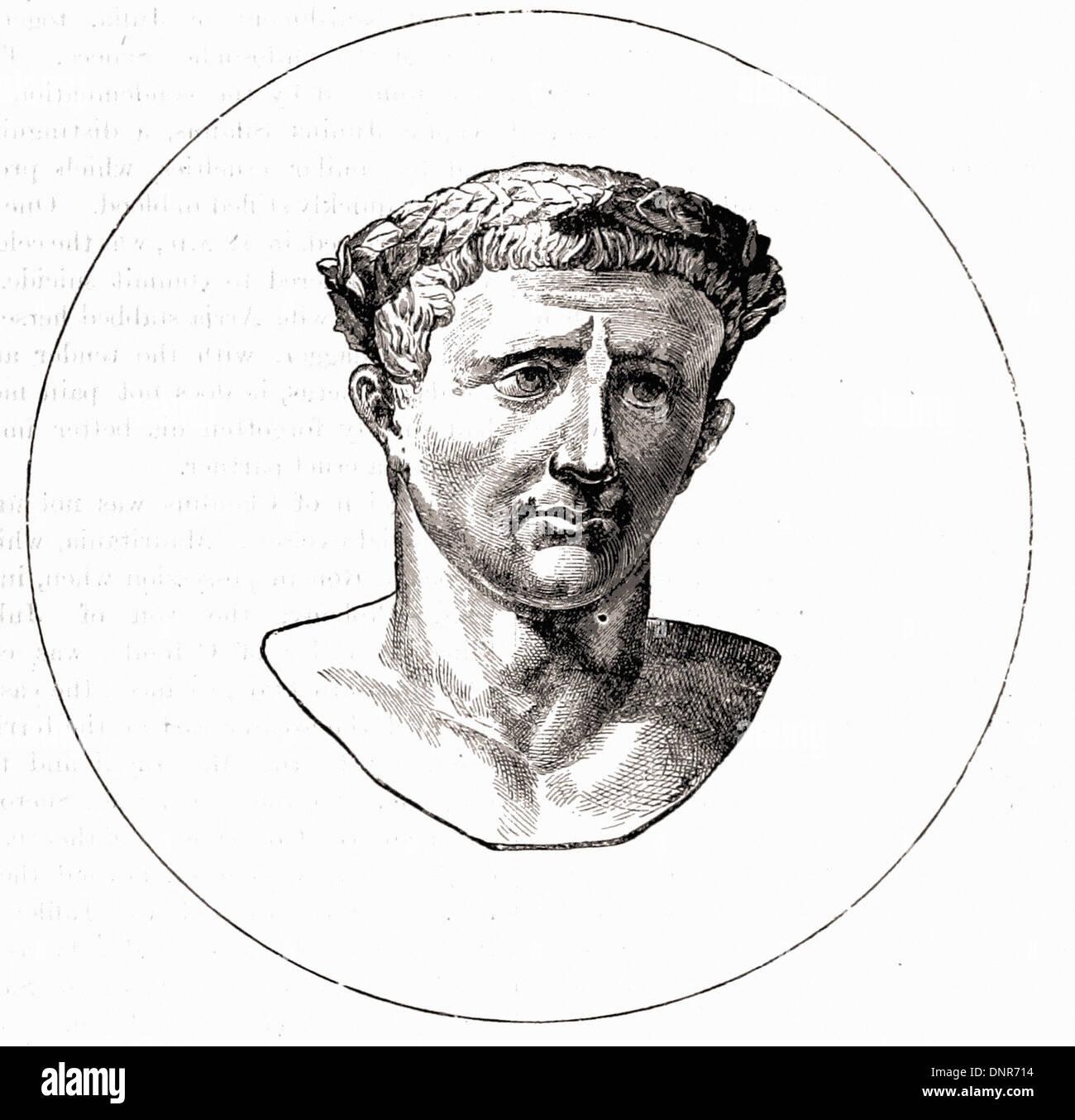 Portrait of CLAUDIUS - British engraving XIX th Century - Stock Image