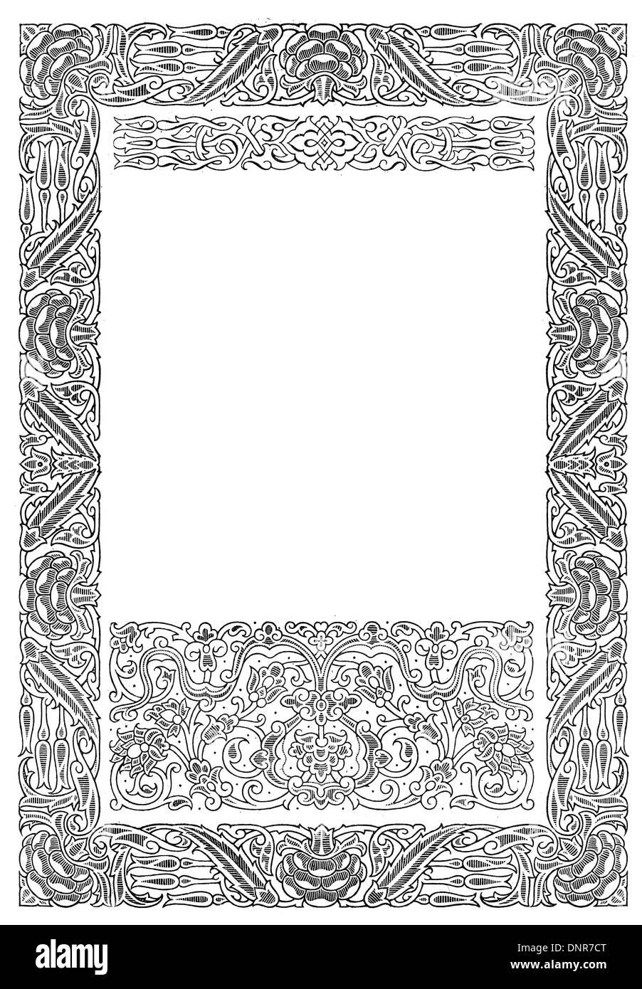 Arabesque ornate border - Stock Image