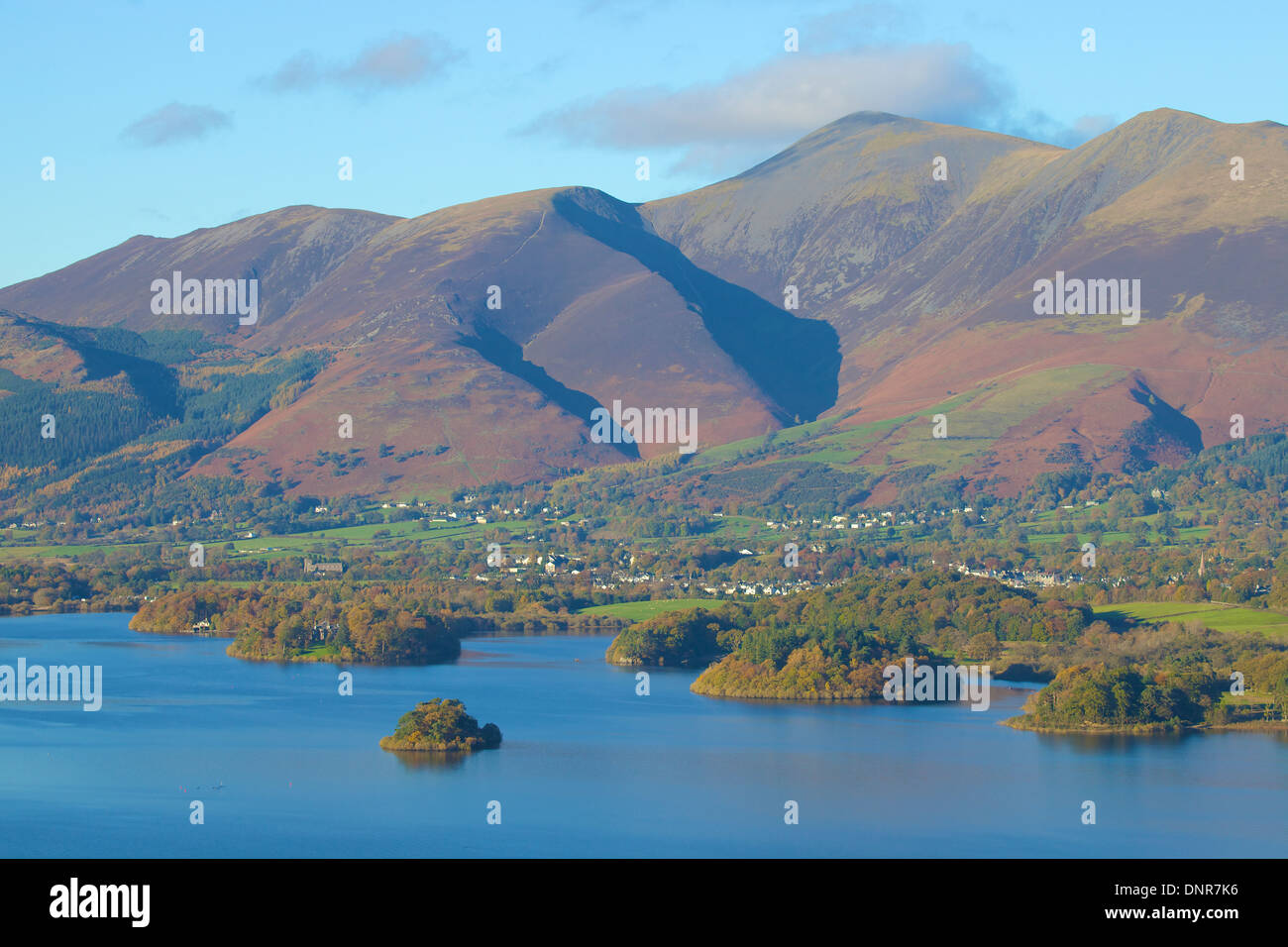 Skiddaw mountain above Derwent Water Lake District National Park Cumbria England United Kingdom Great Britain - Stock Image