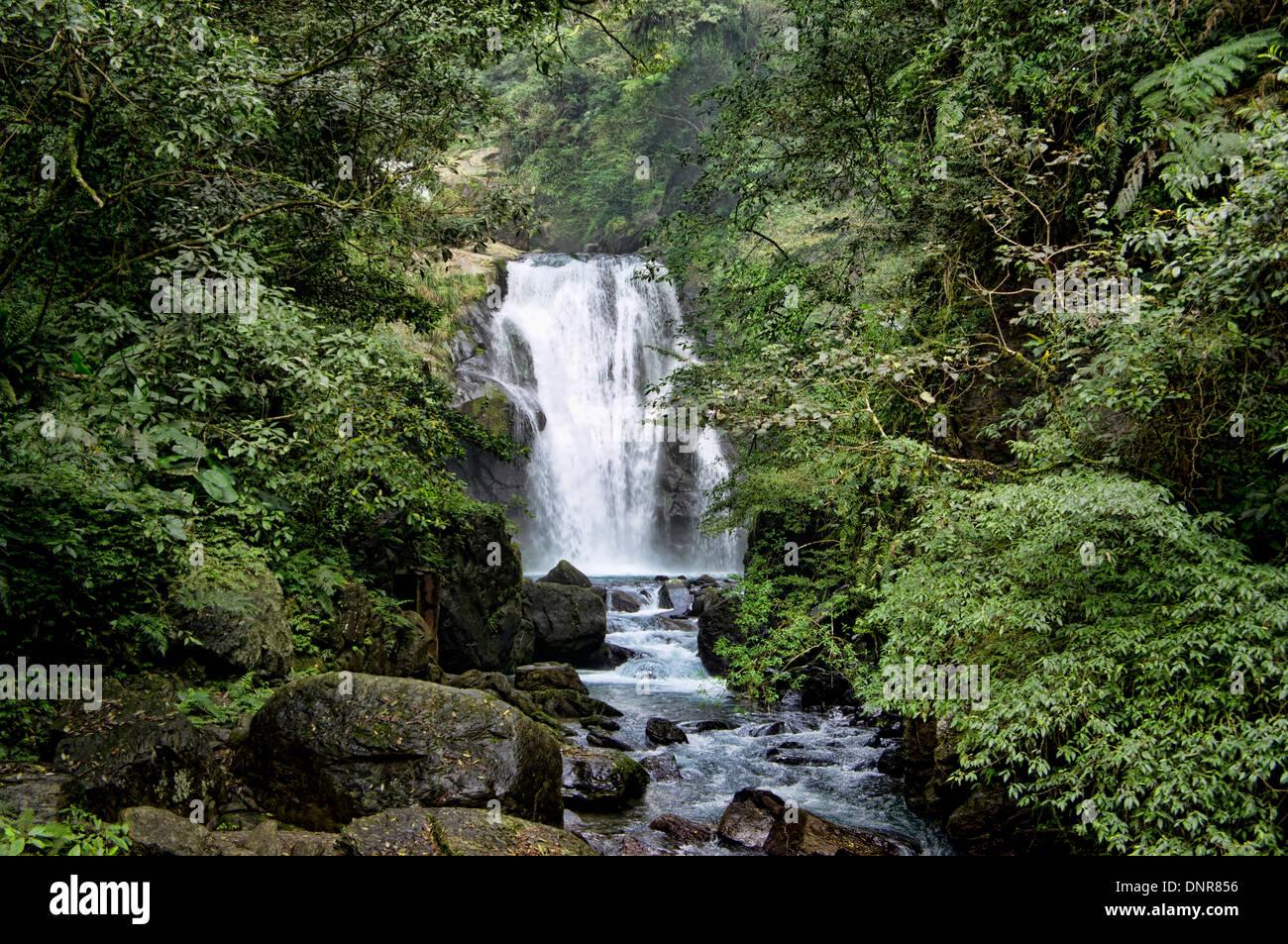 Waterfall in Valley of Wulai, Taiwan - Stock Image