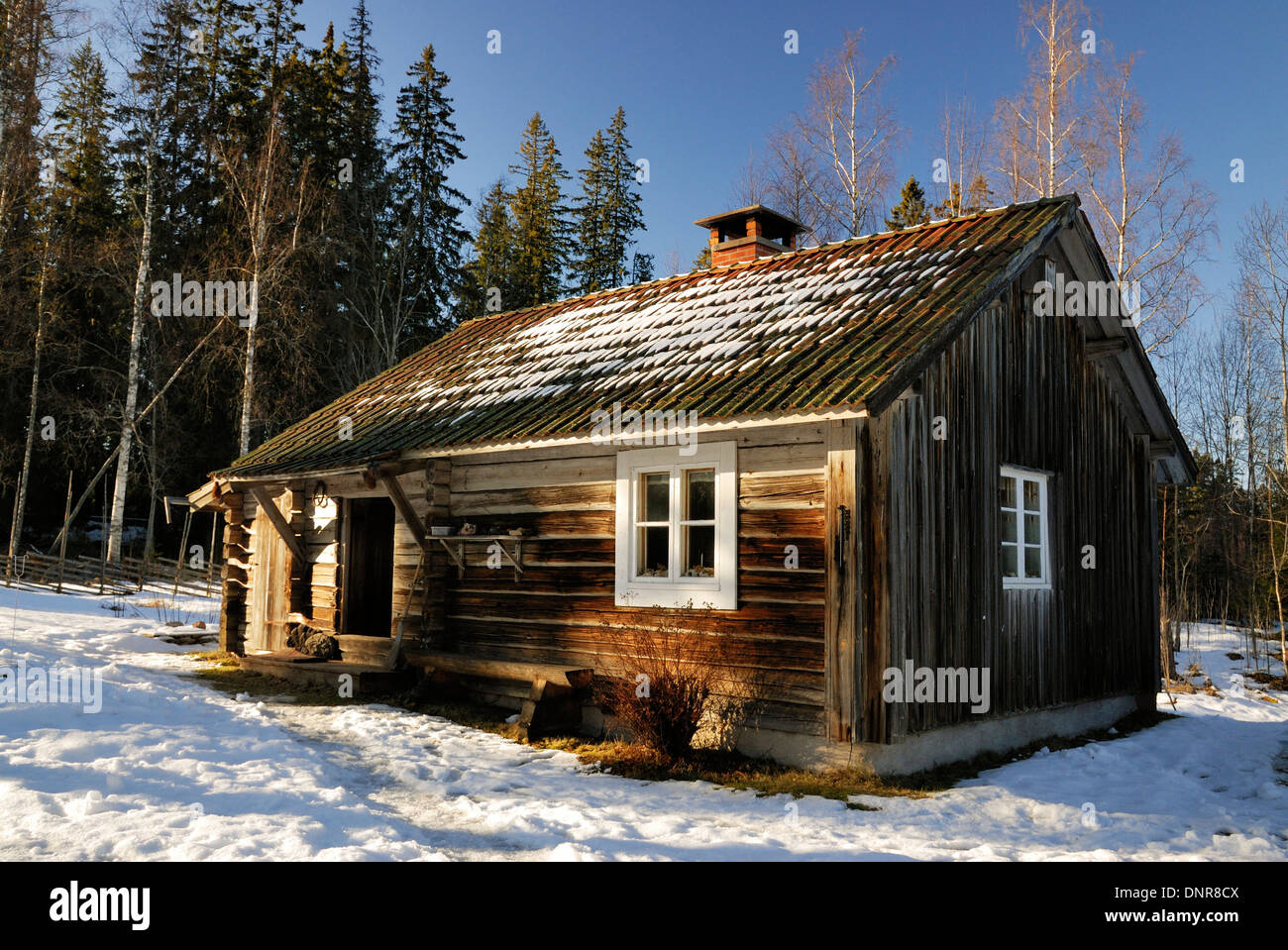 Old house in snow - Stock Image