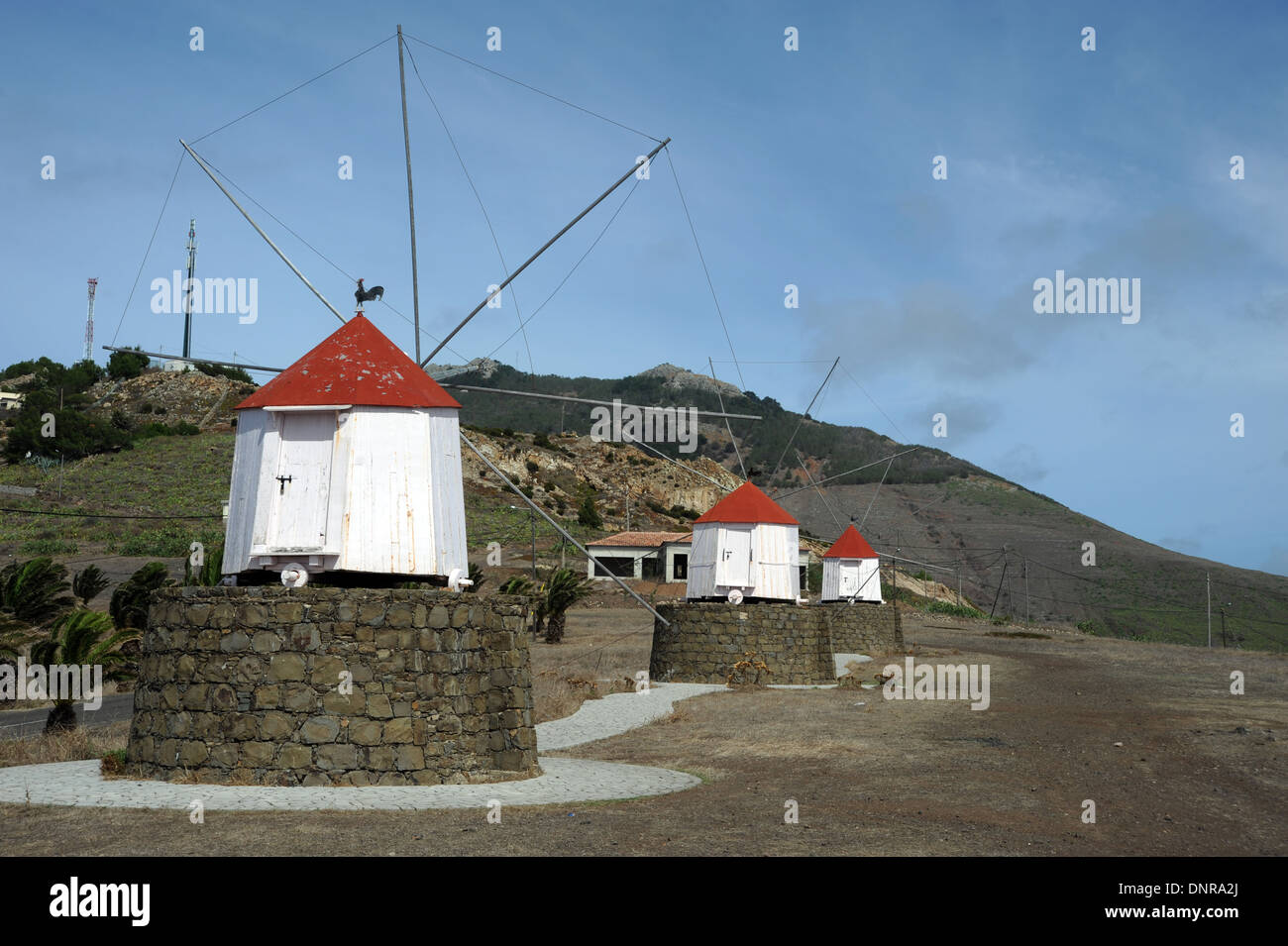 Windmills on the island of Porto Santo near Madeira in the Atlantic Ocean - Stock Image