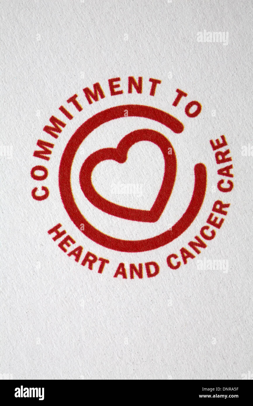 commitment to heart and cancer care logo on AXA PPP Healthcare literature - Stock Image