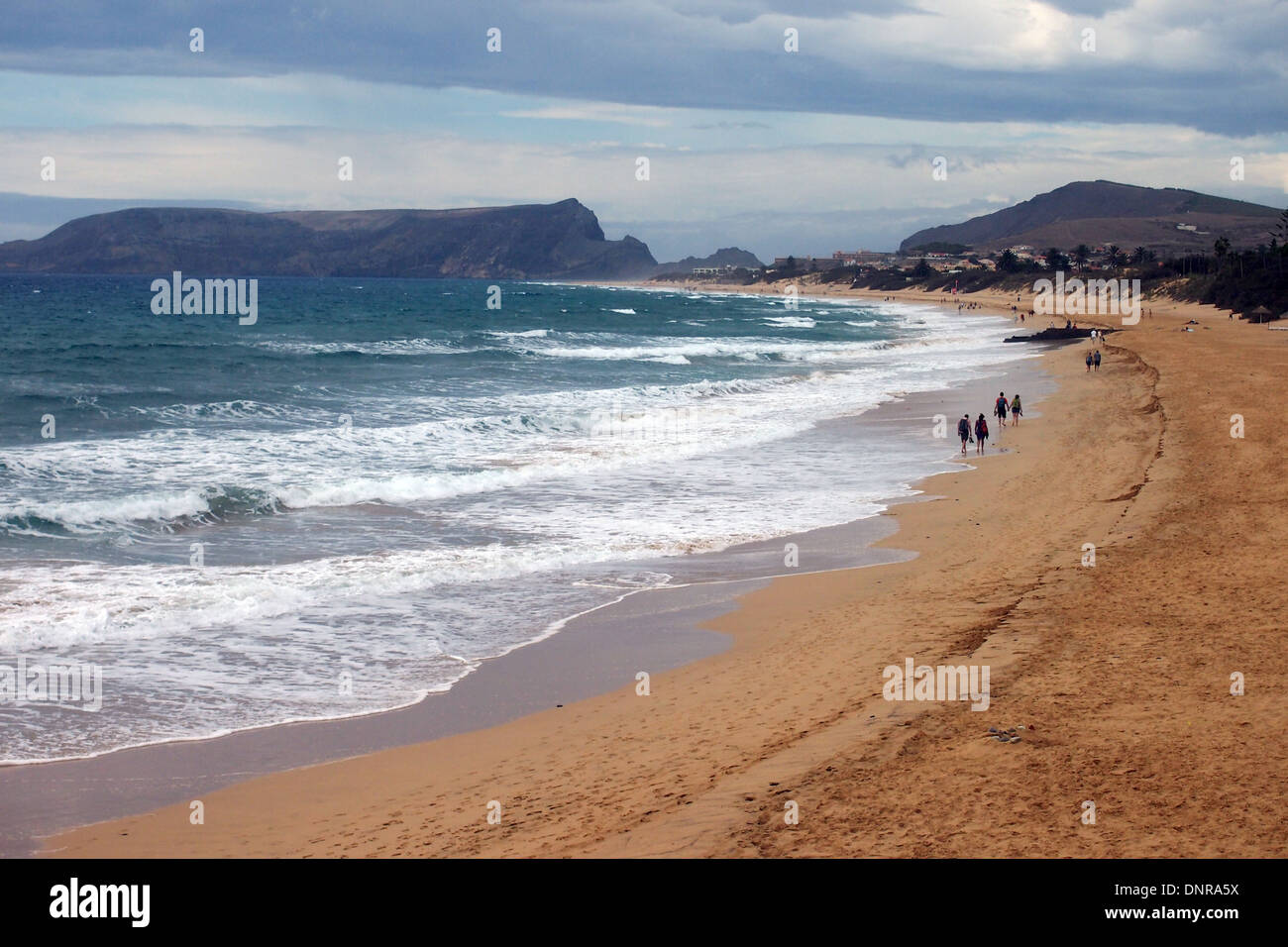 The famous beach on the Atlantic Island of Porto Santo near Madeira - Stock Image