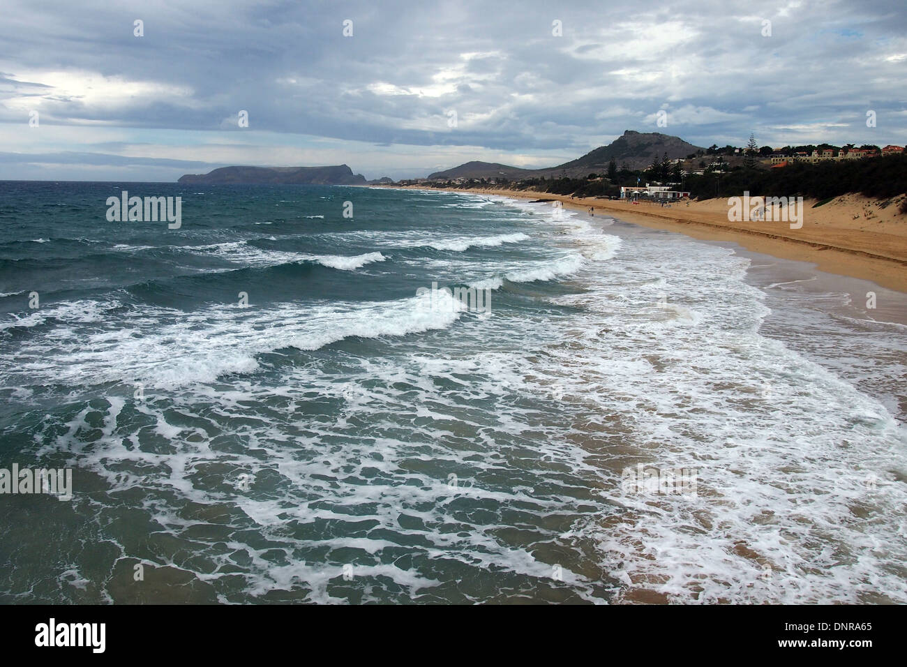 The famous beach on the Atlantic Island of Porto Santo near Madeira - Stock Image