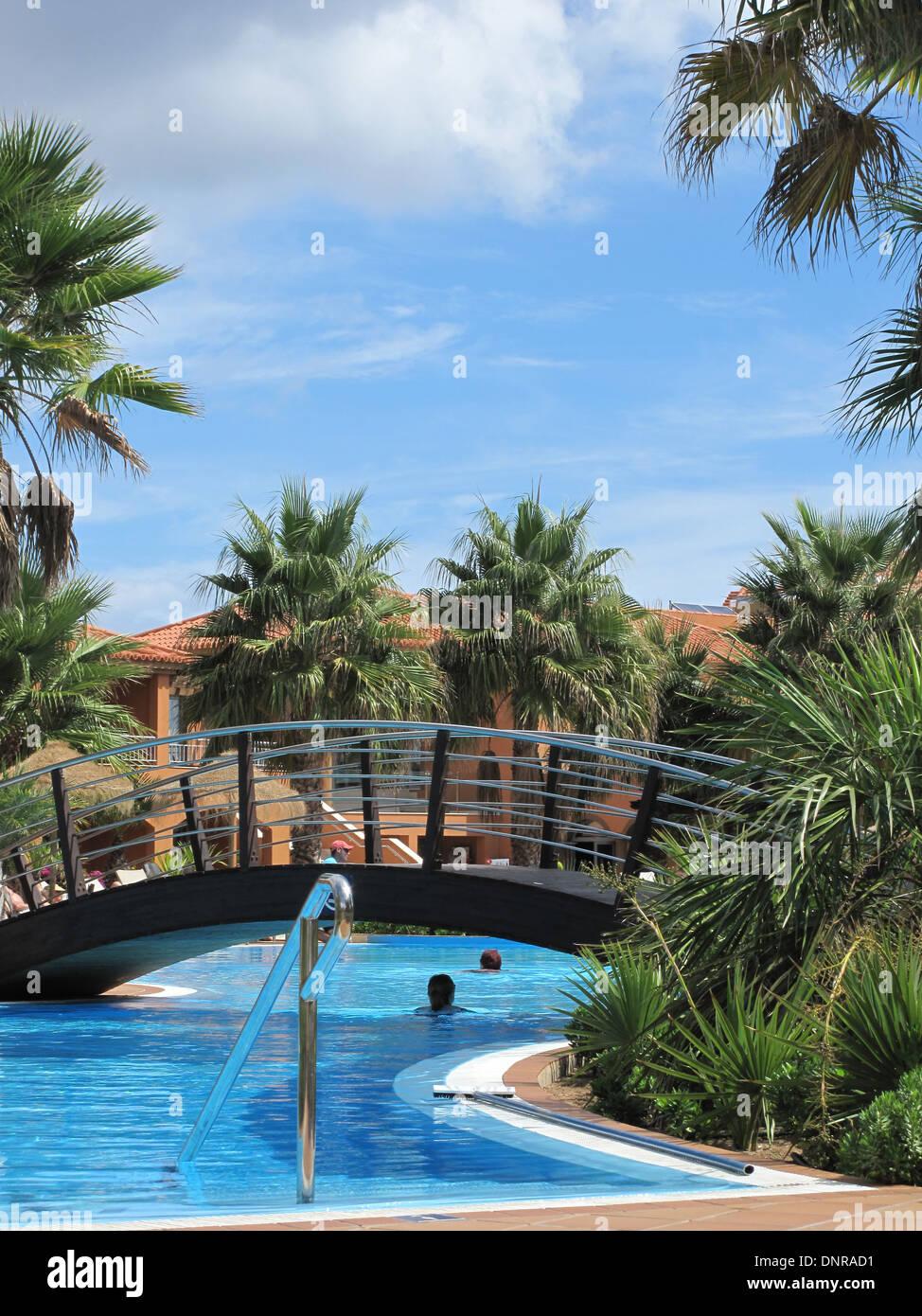 The pool at the Pestana hotel on the Island of Porto Santo Maderia - Stock Image