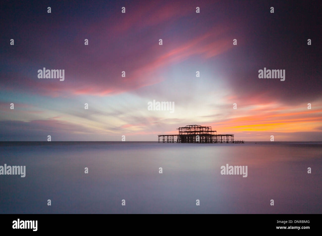 Brighton West Pier at Sunset, Sussex, UK. Long Exposure Stock Photo