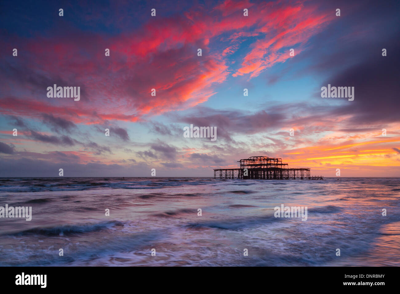 Brighton West Pier at Sunset, Sussex, UK. Long Exposure - Stock Image