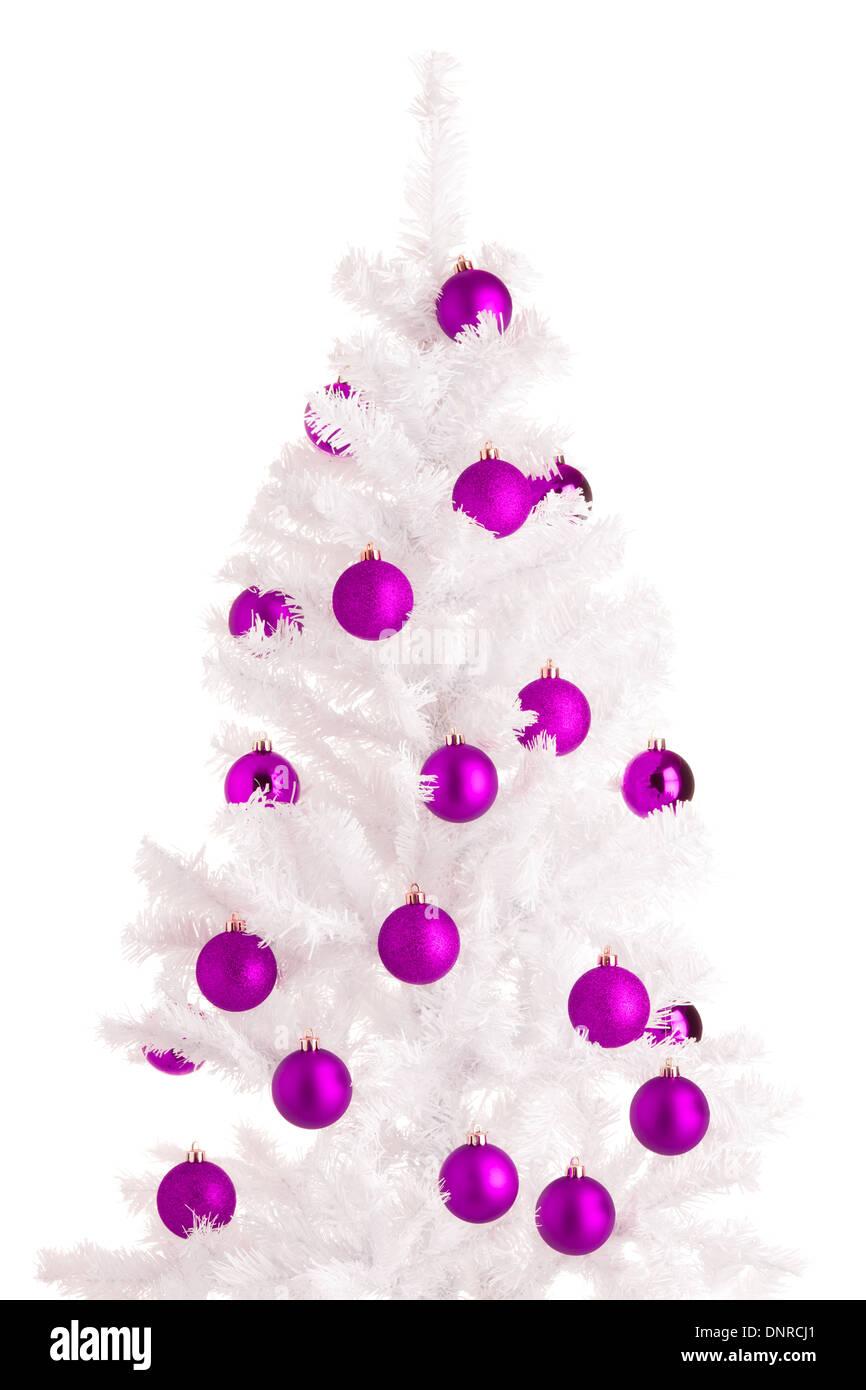 White Christmas Tree And Purple Balls Background