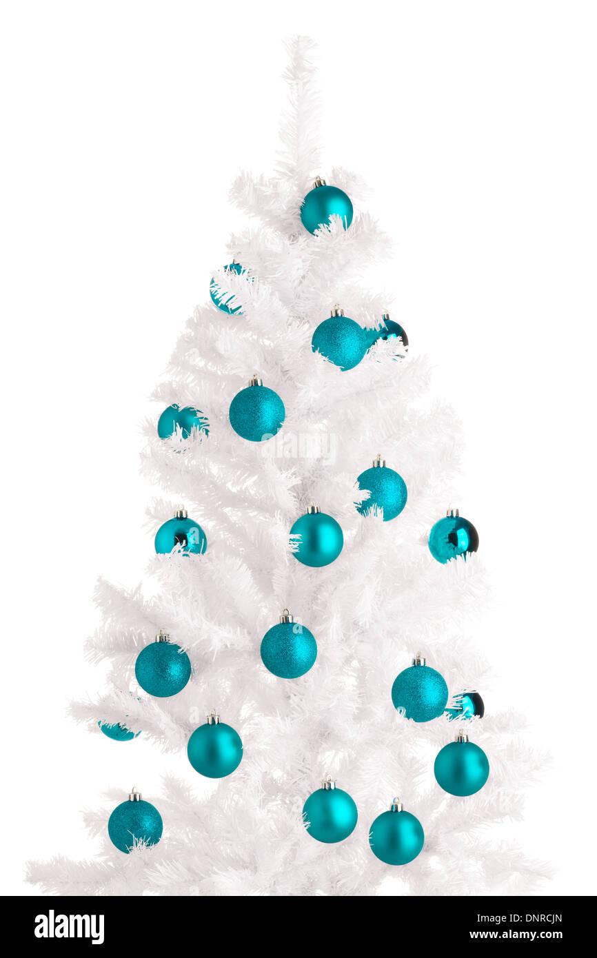 White Christmas tree and turquoise balls, white background Stock ...