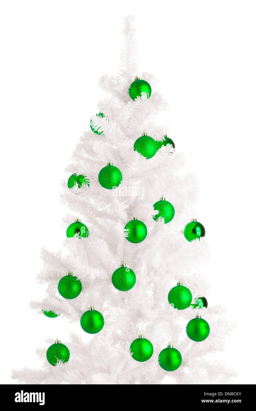 White Christmas Tree And Green Balls White Background Stock Photo Alamy