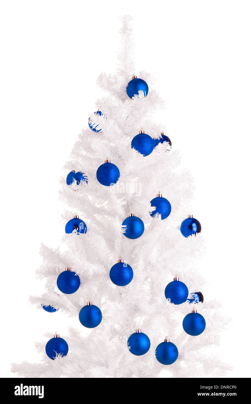 white christmas tree and blue balls white background stock image