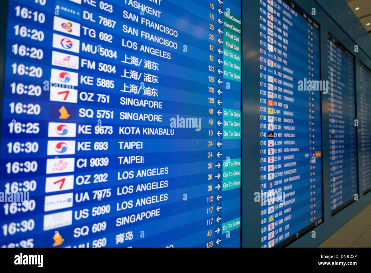 Flip display board at Incheon International Ariport - Incheon, South Korea - Stock Image