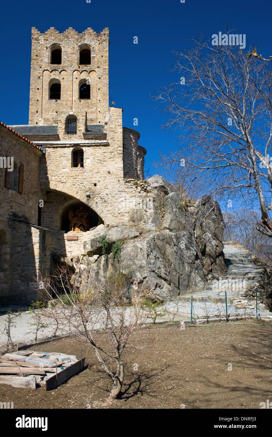 Abbey of Saint Martin du Canigou, Pyrenees Orientales, France. Stock Photo