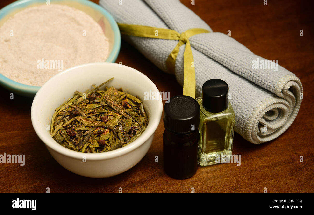 essential oils and herbs for aromatherapy spa treatment for wellness - Stock Image
