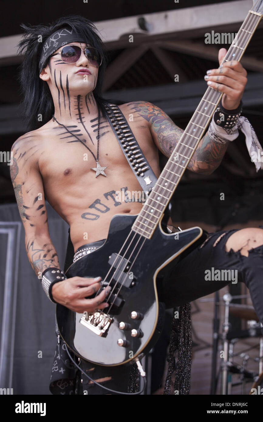 Milwaukee, Wisconsin, USA. 19th July, 2011. Bassist ASHLEY PURDY of Black Veil Brides perform on Vans Warped Tour in Milwaukee, Wisconsin © Daniel DeSlover/ZUMAPRESS.com/Alamy Live News - Stock Image