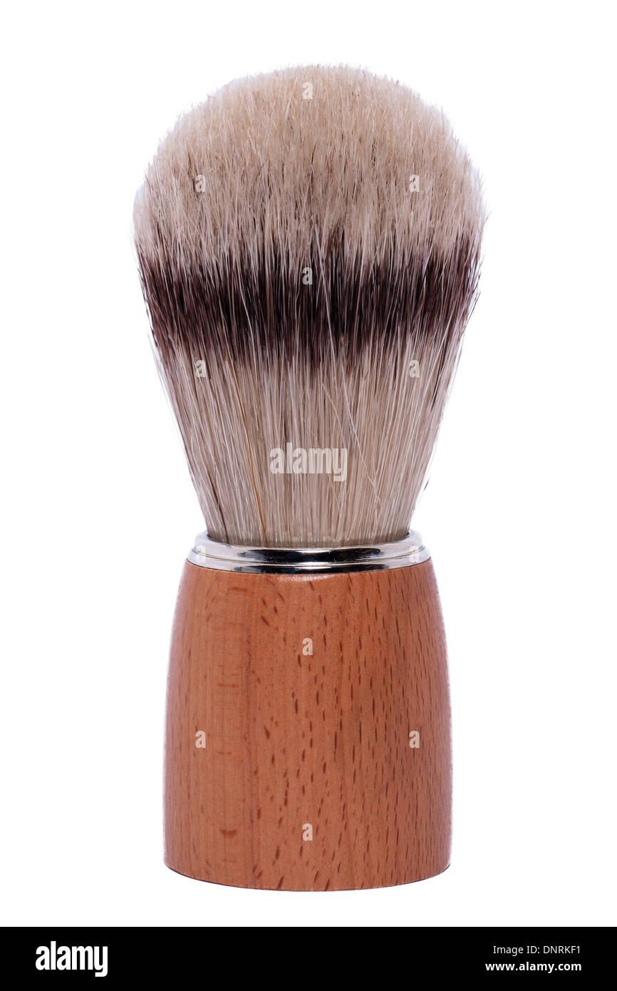 A shaving brush on a white background - Stock Image