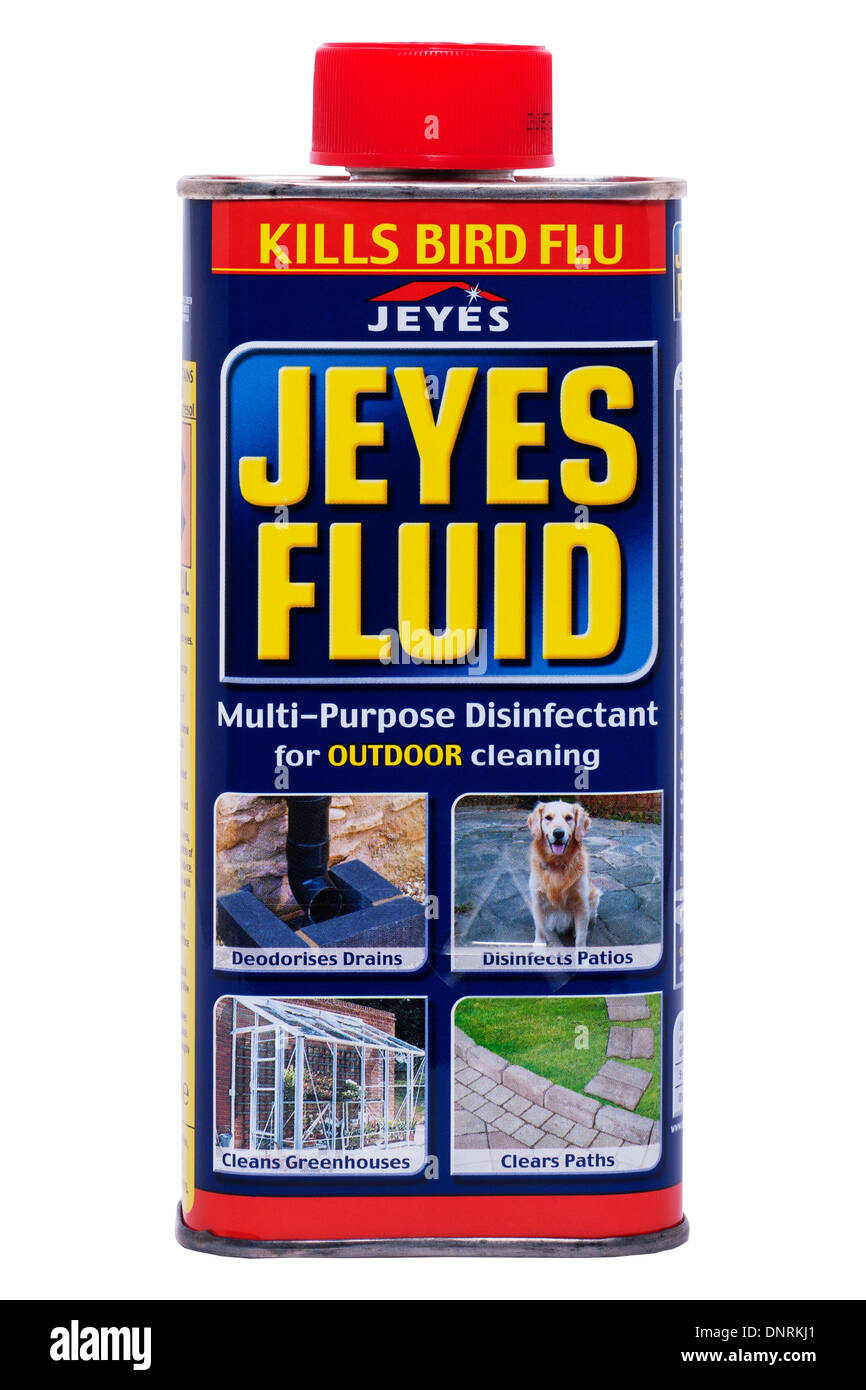 A tin of Jeyes Fluid multi-purpose disinfectant for outdoor cleaning on a white background - Stock Image
