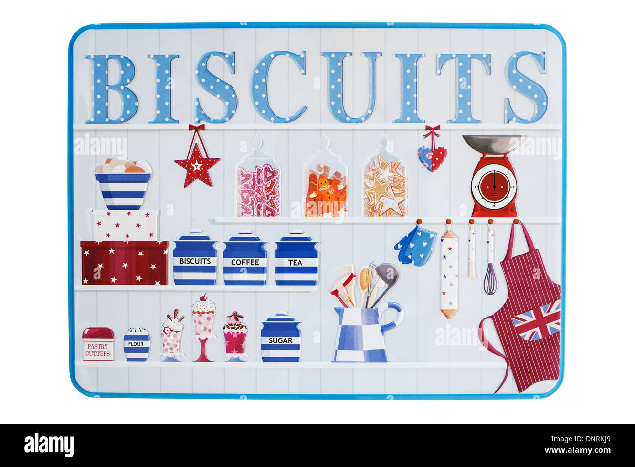 A tin of biscuits on a white background - Stock Image