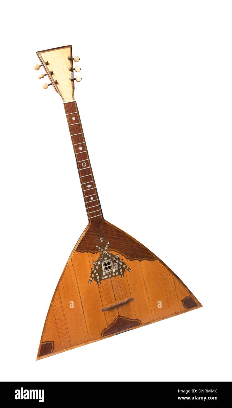 Balalaika of the beginning of 20 centuries- is isolated on the white - Stock Image