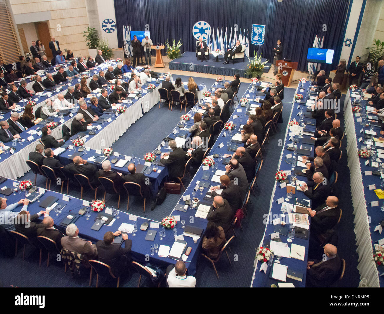 Jerusalem, Israel. 5th Jan, 2014. President Shimon Peres opened the Ambassadors Conference for heads of Israeli diplomatic missions worldwide alongside Foreign Minister Avigdor Lieberman at the Ministry of Foreign Affairs. Jerusalem, Israel. 5-Jan-2014.  President Peres opened the Ambassadors Conference for heads of Israeli diplomatic missions worldwide alongside Foreign Minister Lieberman at the Ministry of Foreign Affairs. Credit:  Nir Alon/Alamy Live News - Stock Image