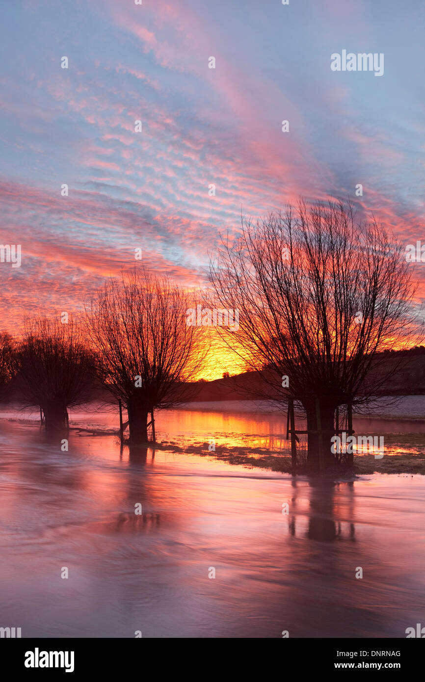 Salisbury, UK. 5th Jan, 2014, Following heavy rain dawn is reflected in flood water on the River Ebble near Salisbury Wiltshire. With further heavy rain forecast the red sky justifies the old saying 'red sky in the morning shepherds warning'. Credit:  Ken Leslie/Alamy Live News - Stock Image