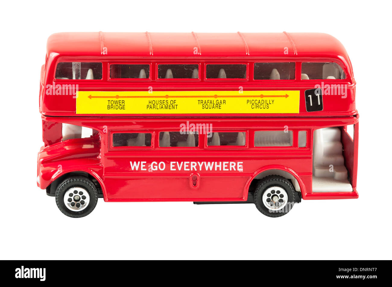 Toy model of red double decker London bus isolated on white background with clipping path - Stock Image