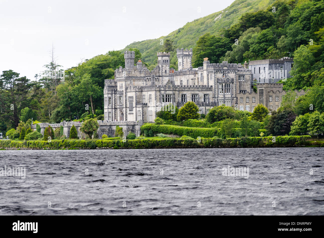 Kylemore Abbey, Ireland, a Benedictine Abbey home to Benedictine Nuns who were forced to flee Ypres Belgium during Stock Photo