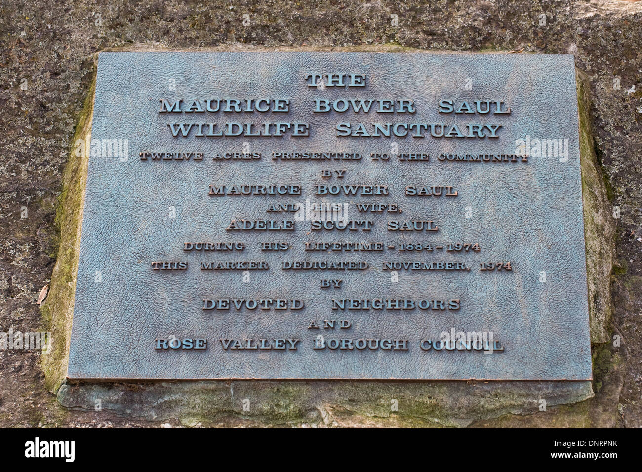 Memorial plaque to Maurice Bower and Adele Scott Saul, Pennsylvania, USA - Stock Image