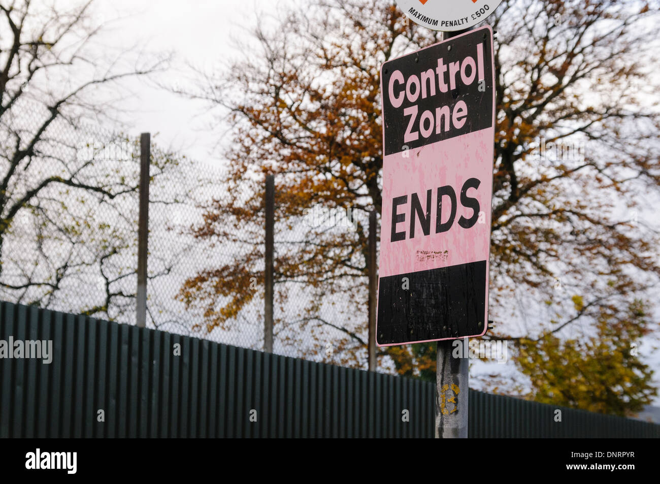 Sign indicating the end of a Control Zone, common in Belfast and towns in Northern Ireland during the Troubles Stock Photo