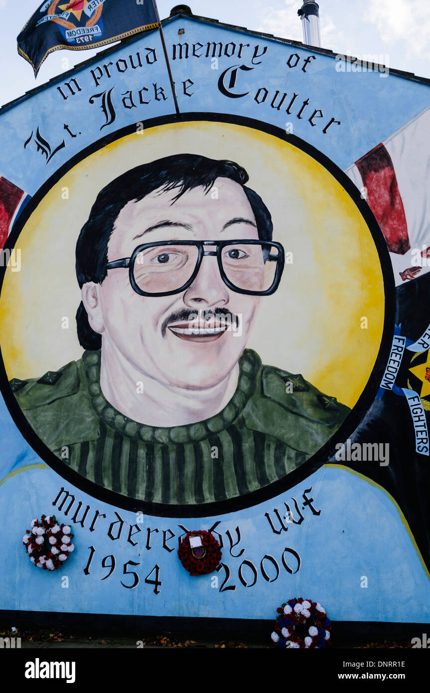 Mural in Belfast commemorating the UDA commander Jackie Coulter who was killed in 2000 during a feud between loyalists. - Stock Image
