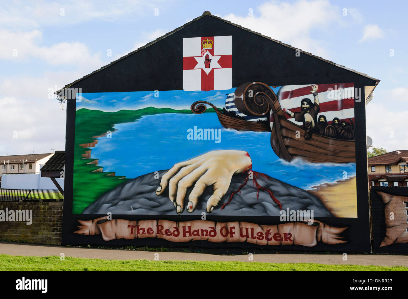 Mural in Belfast commemorating the origin of the Red Hand of Ulster - Stock Image